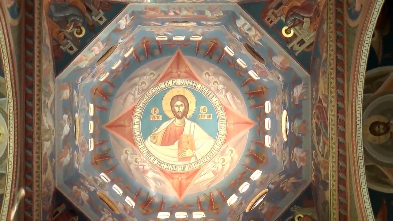 Cupola bisericii Capela Elisabeta cu reprezentarea lui Iisus Hristos Pantocrator